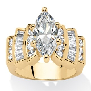 Yellow Gold-plated Cubic Zirconia Step Top Engagement Ring - White (More options available)