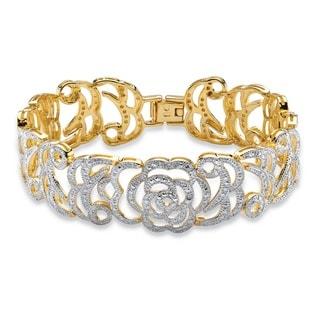 PalmBeach 18k Yellow Goldplated Diamond Accent Floral Motif 7.25-inch Interlocking-link Bracelet