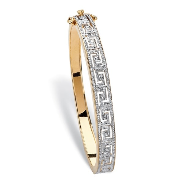 18k Two-tone Yellow Goldplated Diamond Accent 7.5-inch Greek Key-link Bangle Bracelet. Opens flyout.