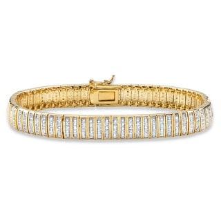 18k Gold 1ct TDW Round Diamond Bar Link 7.5-inch Bracelet