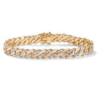 Men S 18k Yellow Gold Plated Diamond Accent Bracelet