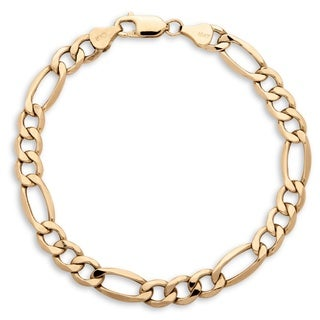 PalmBeach Men's 7.5 mm Figaro-Link Bracelet in 10k Yellow Gold 8""""