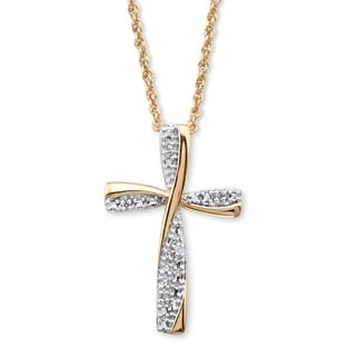 18k Two-tone Gold Over Sterling Silver Diamond Accent 18-inch Cross Pendant Neckl