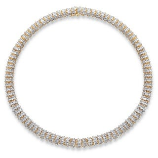 18k Goldplated 1 TCW Diamond 18-inch Snake Link Collar Necklace