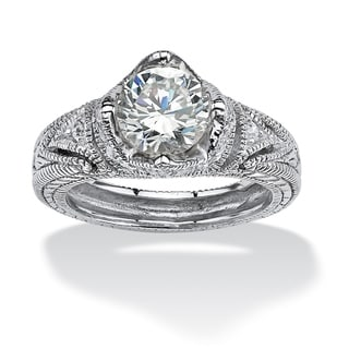2.15 TCW Round Cubic Zirconia Crown Ring in Platinum over Sterling Silver Classic CZ
