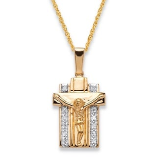PalmBeach Men's 18k Two-tone Gold Over .925 Sterling Silver 1/10 TCW Diamond 20-inch Crucifix Pendant Necklace