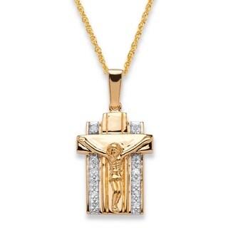 Men's 18k Two-tone Gold Over .925 Sterling Silver 1/10 TCW Diamond 20-inch Crucifix Pendan