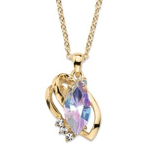 Marquise-Cut Aurora Borealis Crystal Freeform Loop Pendant Necklace 14k Gold-Plated with W