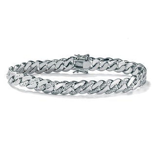 PalmBeach Men's Platinum-plated Diamond-accent Curb-link 9.5-inch Bracelet