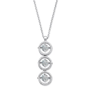 "PalmBeach 3.39 TCW CZ in Motion (TM) Triple Circle Cubic Zirconia Pendant Necklace in Sterling Silver 18"""" Classic CZ"