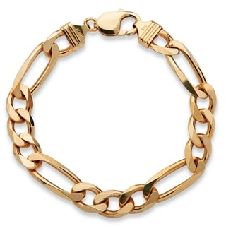 PalmBeach Men's Figaro-Link Bracelet in 14k Yellow Gold over Sterling Silver