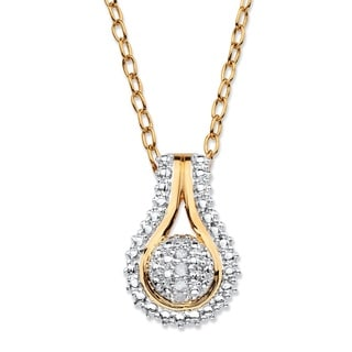 Jewelry Goldplated Diamond-Accent Adjustable Pave-Style Two-Tone Teardrop-Shaped Clust