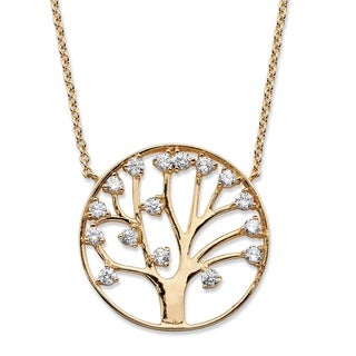 1.15 TCW Round Cubic Zirconia Tree of Life Pendant Necklace 14k Gold-Plated Classic CZ
