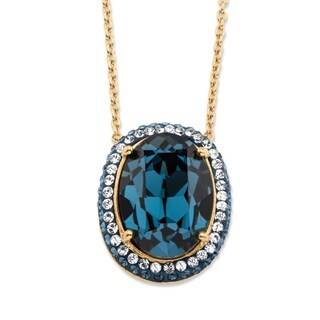 18k Gold Overlay Oval-cut Blue Crystal Halo Pendant Necklace