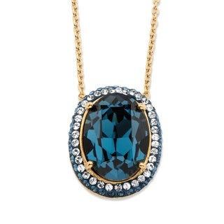 18k Gold Overlay Oval Cut Blue Crystal Halo Pendant Necklace