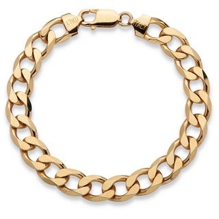 PalmBeach Men's Curb-Link Bracelet in 14k Yellow Gold over Sterling Silver