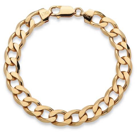 Men's Curb-Link Bracelet in 14k Yellow Gold over Sterling Silver
