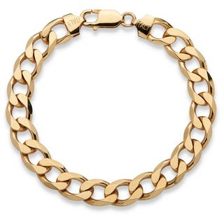 Link to Men's Curb-Link Bracelet in 14k Yellow Gold over Sterling Silver Similar Items in Men's Jewelry