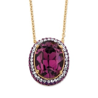 PalmBeach Oval-Cut Purple Amethyst Crystal Halo Pendant Necklace MADE WITH SWAROVSKI ELEMENTS 18k Gold-Plated Color Fun