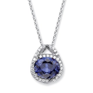 "PalmBeach 5.50 TCW Oval Simulated Tanzanite and Cubic Zirconia Platinum over .925 Silver Pendant Necklace 18"""" Color Fun"