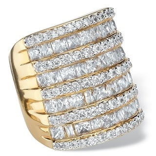 PalmBeach 6 1/4 TCW Baguette-Cut and Round Cubic Zirconia Channel-Set Cocktail Ring 14k Gold-Plated Glam CZ