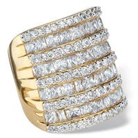 6 1/4 TCW Baguette-Cut and Round Cubic Zirconia Channel-Set Cocktail Ring Gold-Plated