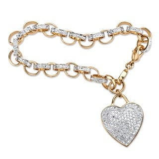 PalmBeach 18k Yellow Gold-Plated Diamond Accent Heart Charm Rolo-Link 7.75-inch Bracelet