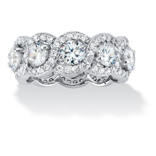 Platinum over Sterling Silver Cubic Zirconia Halo Eternity Bridal Ring - White