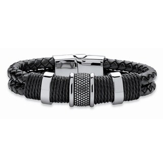 PalmBeach Men's Tribal Bracelet With Magnetic Clasp in Stainless Steel and Braided Black Leather 8""""