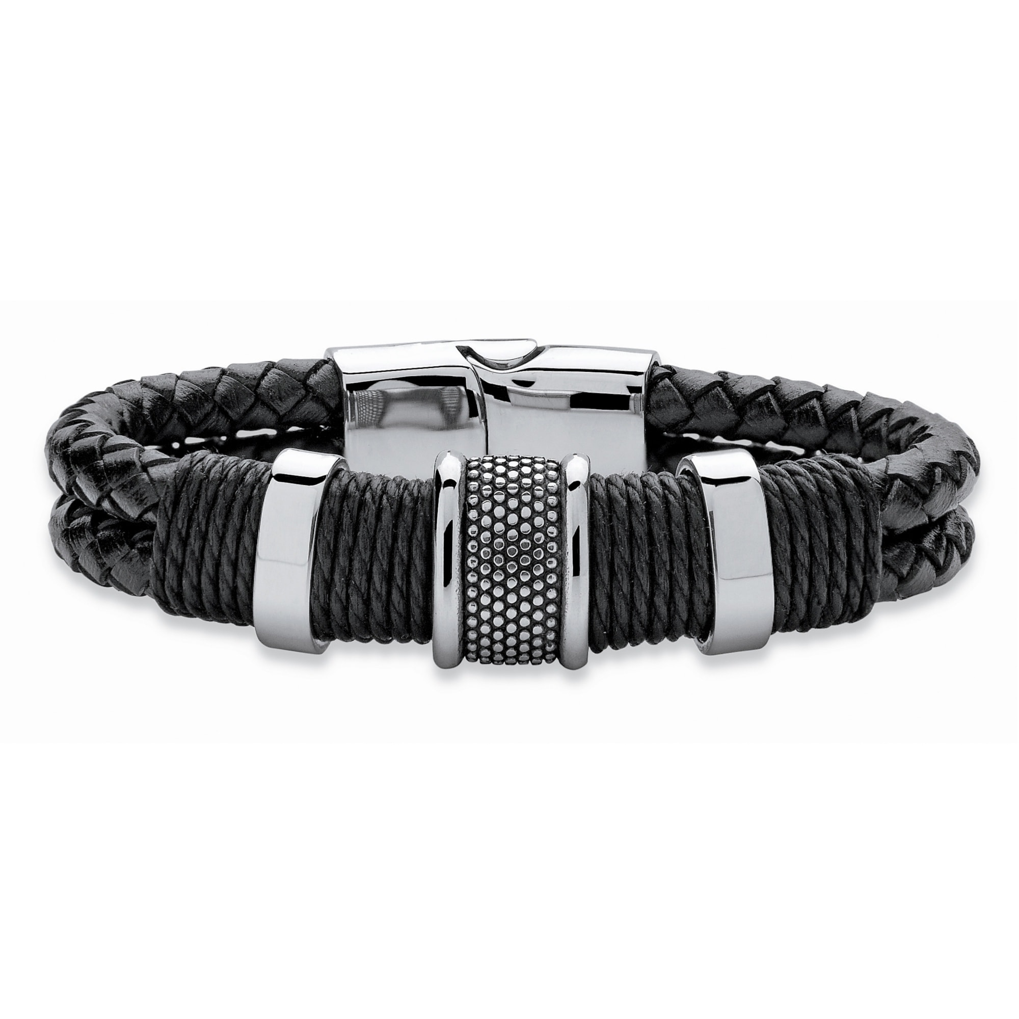 Black/&Silver Leather Braided Bracelet with Magnetic Clasp 8.27 Perfect Gift Stainless Steel Bracelet for Men