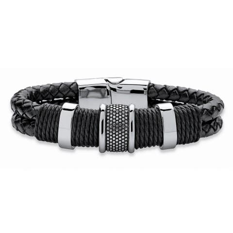"""Men's Tribal Bracelet with Magnetic Clasp in Stainless Steel and Braided Black Leather 8"""""""""""