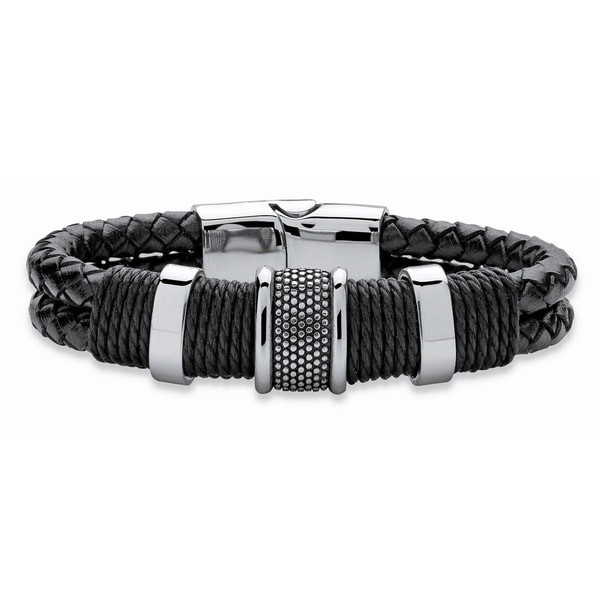 Men X27 S Tribal Bracelet With Magnetic Clasp In Stainless Steel And Braided Black