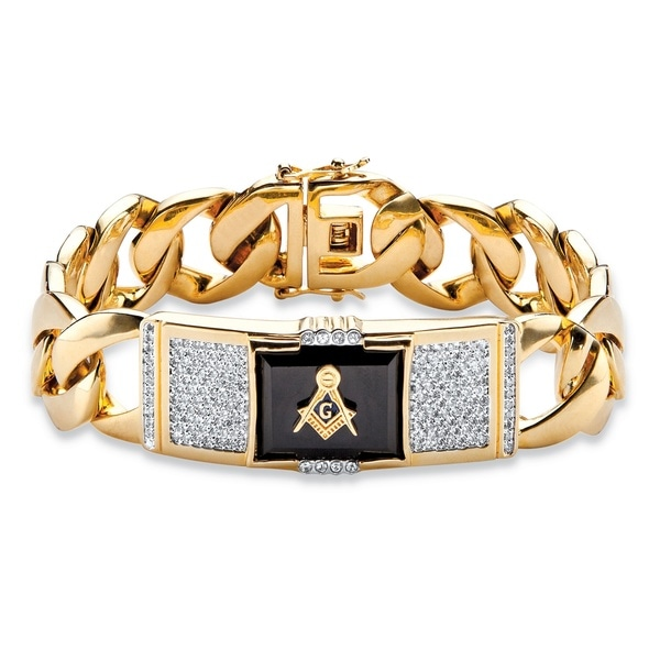 68034dfd22a321 Men's Yellow Gold-Plated Rectangular Shaped Onyx and Round Masonic ID