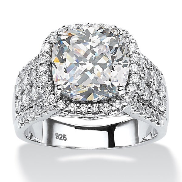 3.68 TCW Cushion-Cut and Pave Cubic Zirconia Halo Engagement Ring in Platinum over Sterlin