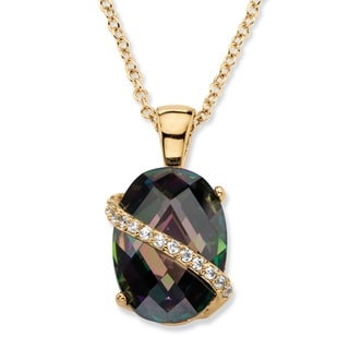 PalmBeach 13.06 TCW Oval-Cut Faceted Mystic Cubic Zirconia Pendant Necklace 14k Gold-Plated with White CZ Acce Color Fun