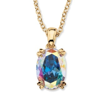 PalmBeach 14k Gold Overlay 5 7/8ct TGW Aurora Borealis Cubic Zirconia Pendant Necklace