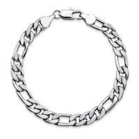 """Men's Figaro-Link 6.5 mm Silvertone Chain Bracelet 8"""""""""""