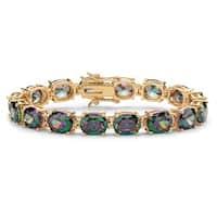 "40.64 TCW Oval-Cut Mystic Cubic Zirconia Tennis Bracelet Gold-Plated 7 1/4"""" Color Fun"