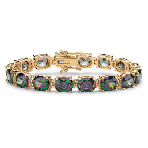 """Yellow Gold-Plated Tennis Bracelet (8mm), Oval Cut Mystic Fire Cubic Zirconia, 7.25"""""""
