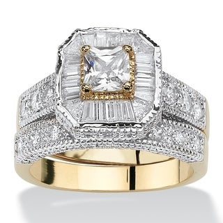 2.31 TCW Princess-Cut Cubic Zirconia Two-Tone Vintage-Style 2-Piece Bridal Ring Set 14k Go