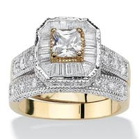 2.31 TCW Princess-Cut Cubic Zirconia Two-Tone Vintage-Style 2-Piece Bridal Ring Set Go