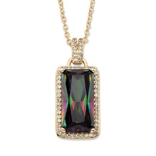 PalmBeach 27.46 TCW Emerald-Cut Mystic Cubic Zirconia Halo Pendant Necklace with White CZ Accents 14k Gold-Pla Color Fun