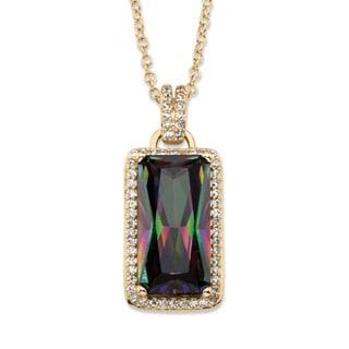 PalmBeach 27.46 TCW Emerald-Cut Mystic Cubic Zirconia Halo Pendant Necklace with White CZ Accents 14k Gold-Pla Color Fun