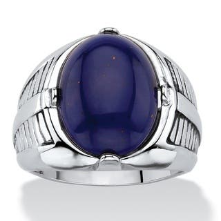 Men's Oval-Cut Genuine Blue Lapis Etched Cabochon Ring Platinum-Plated|https://ak1.ostkcdn.com/images/products/12034447/P18906748.jpg?impolicy=medium