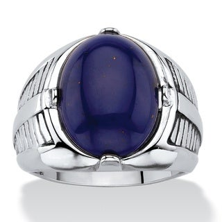 Men's Oval-Cut Genuine Blue Lapis Etched Cabochon Ring Platinum-Plated (5 options available)