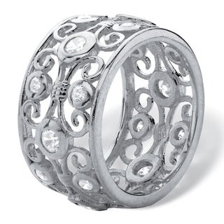 PalmBeach 1 TCW Round White Cubic Zirconia Scroll Eternity Ring in Sterling Silver Classic CZ