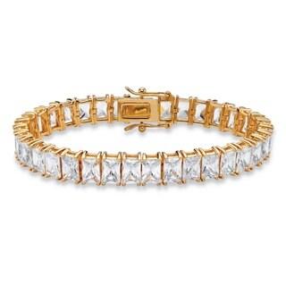 "30.60 TCW Emerald-Cut Cubic Zirconia Tennis Bracelet 14k Gold-Plated 7 1/4"""" Classic CZ"