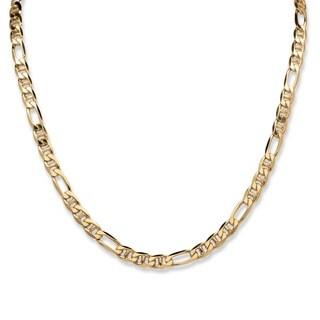 "Men's Figaro Link Necklace in 18k Gold over Sterling Silver 22"""""