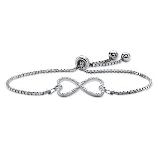 "PalmBeach .28 TCW Pave Cubic Zirconia Infinity Heart Charm Adjustable Bracelet in Sterling Silver 10"""" Classic CZ"