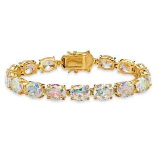 "38.10 TCW Oval-Cut Aurora Borealis Cubic Zirconia Tennis Bracelet 14k Gold-Plated 7.5"""" Co"